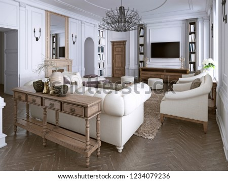 Classic Living Room Paneling Ceiling Moldings Stock Illustration