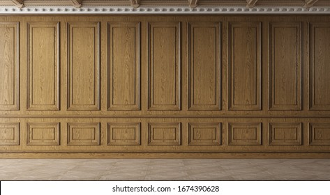 Classic luxury empty room with wooden boiserie on the wall. Oak wall panels, premium cabinet style. 3d illustration