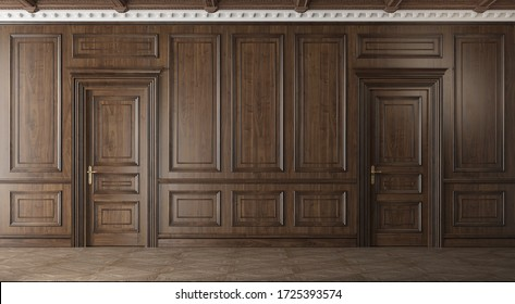 Classic luxury empty room with wooden boiserie on the wall. Walnut wood panels, premium style. 3d illustration