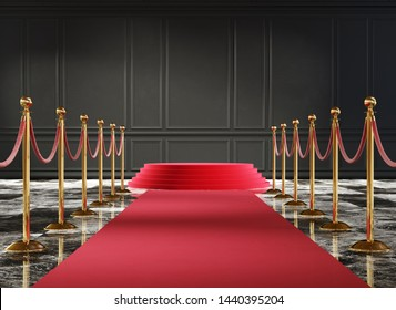 Classic luxury interior with black wall and event carpet with golden barrier. 3d illustration