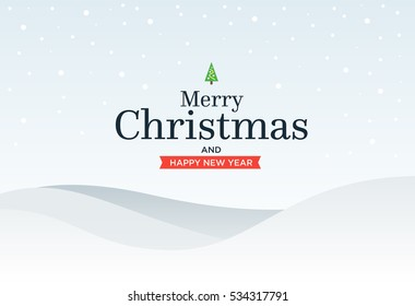 Classic Marry Christmas background with green three, snow, snowflakes and lettering