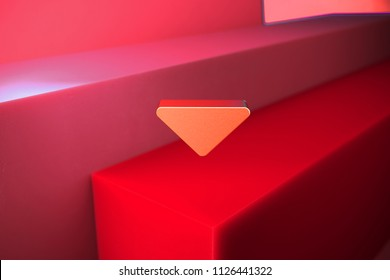 Classic Metallic Caret Down Icon on the Red Background. 3D Illustration of Metallic Arrow, Caret, Down, Download Icon Set With Color Boxes on Red Background.
