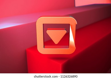Classic Metallic Caret Down in Square Icon on the Red Background. 3D Illustration of Metallic Arrow, Caret, Down, Pointer, Select, Selector Icon Set With Color Boxes on Red Background.