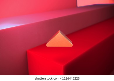 Classic Metallic Caret Up Icon on the Red Background. 3D Illustration of Metallic Arrow, Caret, Drop Up, Up, Upload Icon Set With Color Boxes on Red Background.