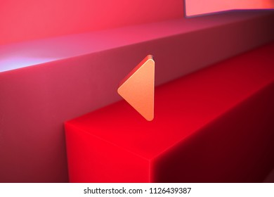 Classic Metallic Caret Left Icon on the Red Background. 3D Illustration of Metallic Arrow, Back, Care, Caret, Left, Previous Icon Set With Color Boxes on Red Background.