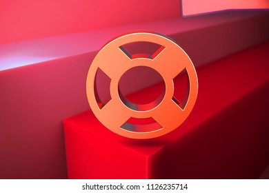 Classic Metallic Life Ring Icon on the Red Background. 3D Illustration of Metallic Floatation Device, Guardar, Life Buoy, Life Ring, Life Save Icon Set With Color Boxes on Red Background.