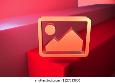 Classic Metallic Photo or Picture Icon on the Red Background. 3D Illustration of Metallic Album, Gallery, Image, Photography, Photos, Pictures Icon Set With Color Boxes on Red Background.