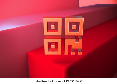 Classic Metallic Qrcode Icon on the Red Background. 3D Illustration of Metallic Barcode, Code, Qr, Qrcode, Quick Response, Scan Icon Set With Color Boxes on Red Background.