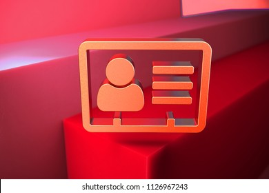 Classic Metallic Vcard Icon on the Red Background. 3D Illustration of Metallic v Card, v Card, Vcard, Vcard File, Vcard File Icon Set With Color Boxes on Red Background.