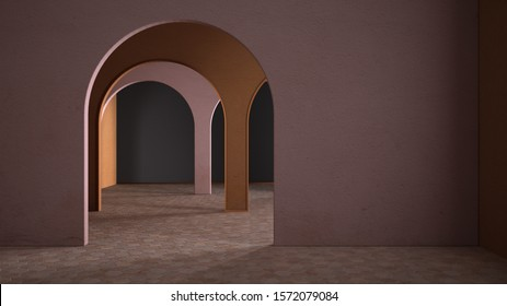 Classic metaphysics surreal interior design, empty space with ceramic floor, archway with stucco colored walls, colorful plaster, unusual architecture, arch project idea, copy space, 3d illustration