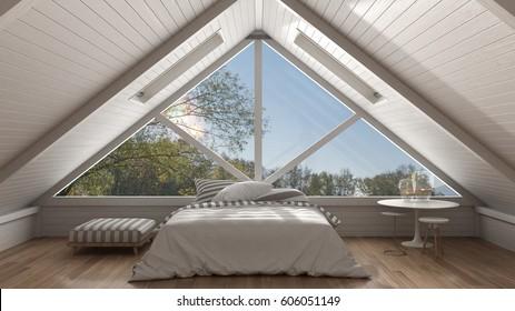 Classic mezzanine loft with big panoramic window, bedroom, summer or spring garden meadow, minimalist scandinavian interior design, 3d illustration