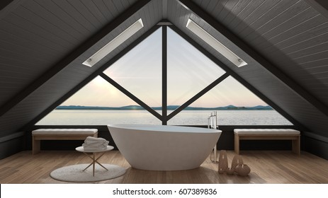 Classic mezzanine loft with big window and sea panorama, bathroom, summer sunset or sunrise, minimalist scandinavian interior design, 3d illustration