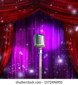 Classic Microphone with Colorful Curtains. 3D rendering