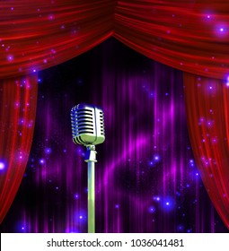 Classic Microphone with Colorful Stage Curtains. 3D rendering