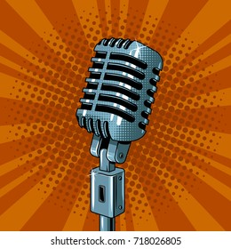 Classic microphone pop art style raster illustration. Voice sound record device. Comic book style imitation