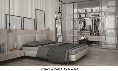 Classic minimal bedroom with walk-in closet, 3d illustration
