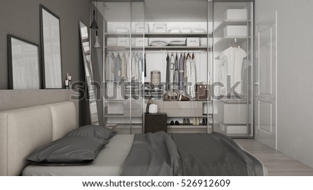 Classic minimal bedroom with walk-in closet 3d illustration & Royalty Free Stock Illustration of Classic Minimal Bedroom Walkin ...