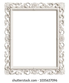 Classic mirror frame isolated on white background.Digital illustration.3d rendering