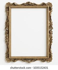 Classic mirror frame on white background.Digital illustration.3d rendering