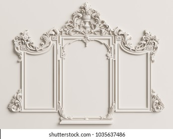 Classic mirror frame on the white wall.Digital illustration.3d rendering