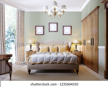 Classic modern bedroom with olive walls, large window and wooden furniture. 3d rendering