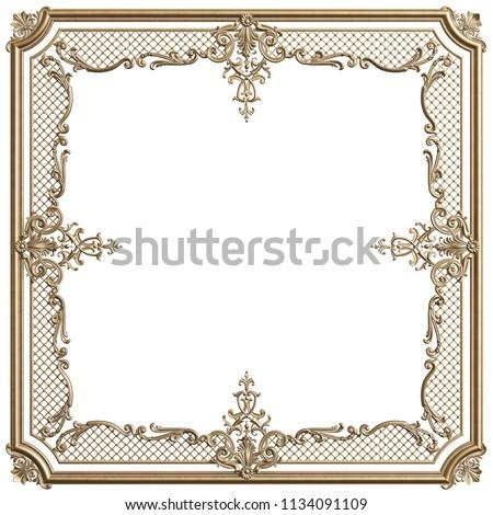 Classic Moulding Golden Frame Ornament Decor Stock Illustration ...