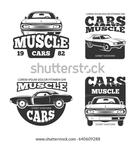 Classic Muscle Car Vintage Template Labels Stock Illustration