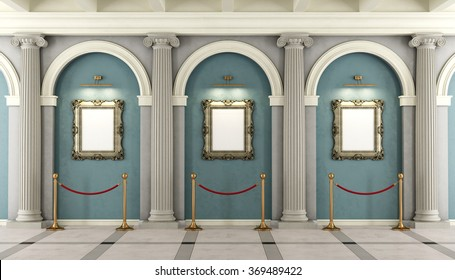 Classic museum with with colonnade and golden frame on wall - 3D rendering