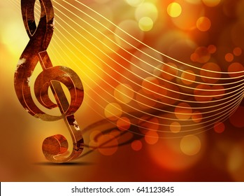 Classic music background - artistic concert poster with treble clef
