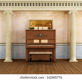 Classic music room with vertical piano - rendering - the art picture on piano is a my rendering image