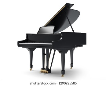 Classic musical instrument black piano isolated on white background, 3D illustration.