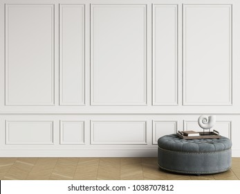 Classic ottoman with  decor in classic interior with copy space.White walls with mouldings. Floor parquet herringbone.Digital Illustration.3d rendering