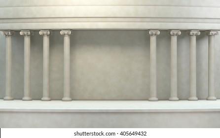 Classic Pillars Background 3d rendering