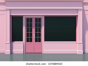 Classic pink shopfront with large windows. Small business pink store facade 3D render
