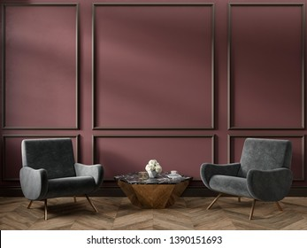 Classic red marsala color interior empty room with armchairs coffee table flowers mouldings and wooden floor. 3d render illustration mock up.