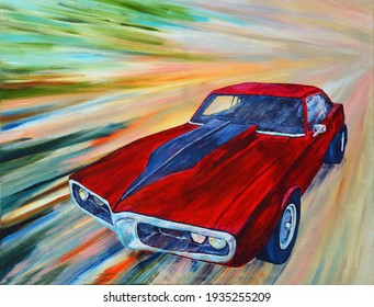 Classic Red Pontiac Firebird American muscle car with abstract speed affect background