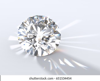 Classic round brilliant cut diamond on light blue background, back highlighted to throw a shadow ahead, with reflected rays, refraction caustics. Close-up view. 3D rendering illustration