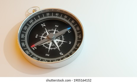 Classic round compass on white background. Space for text. 3D rendering.