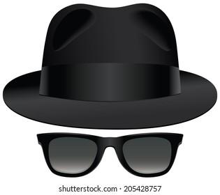 A classic set of black fedora and sunglasses.
