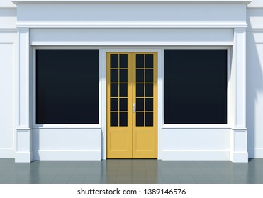 Classic shopfront with yellow door and large windows. Small business white store facade 3D render