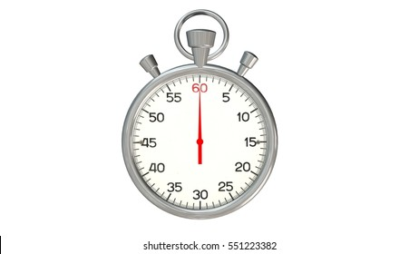 Classic silver stopwatch with red pointer on 60 second - isolated on white background - 3d rendering