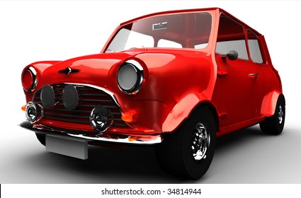 Classic Small Car isolated on white