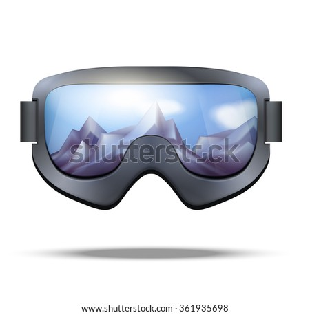 5eb8f3d7f19 Classic snowboard goggles with glass reflecting the winter mountains.  isolated on white background