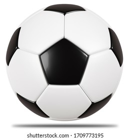 Classic soccer ball isolated on white background.3d rendering.