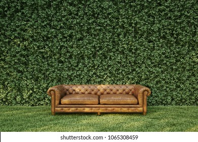 Classic sofa in garden.3D illustration