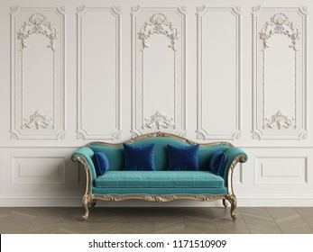 Classic sofa in classic interior with copy space.Walls with mouldings. Floor parquet herringbone.Digital Illustration.3d rendering