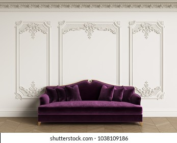 Classic sofa in classic interior with copy space.White walls with mouldings and ornated cornice. Floor parquet herringbone.Digital Illustration.3d rendering