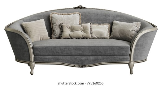 Classic sofa on white background 3d rendering