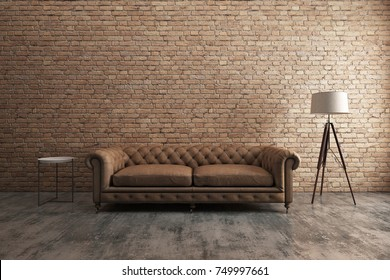 Classic sofa with orange brick wall. Scandinavian interior design. 3D illustration