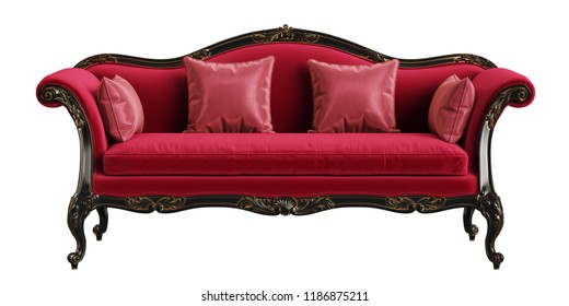 Classic sofa in red,black and gold colors isolated on white background.Digital illustration.3d rendering
